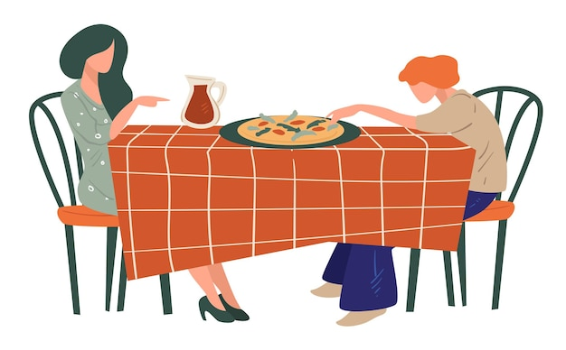 Women having breakfast, dinner or lunch at italian restaurant. female friends enjoying pizza in pizzeria. table with served traditional dish and jug with juice. weekends or vacations vector in flat