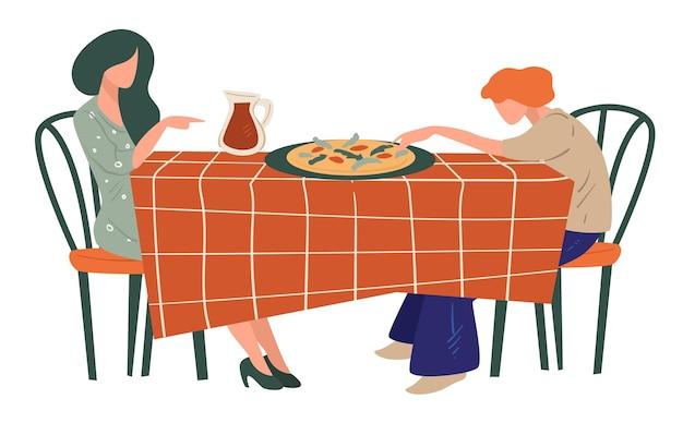 イタリア料理店で朝食、夕食、昼食をとる女性。ピッツェリアでピザを楽しんでいる女性の友人。伝統的な料理を提供するテーブルとジュースの水差し。フラットで週末や休暇のベクトル
