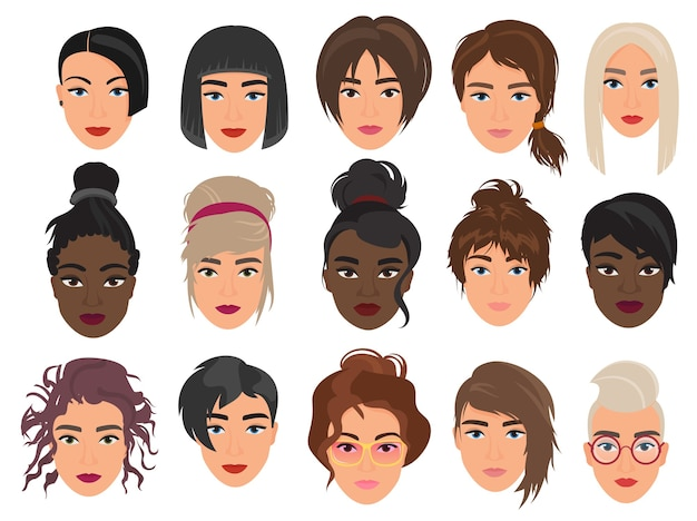 Women heads avatars characters set, fashionable various modern and alternative haircuts