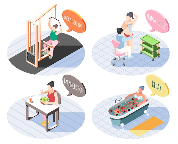 Women health 2x2 design concept set of back stretching  balanced diet relax and mammalogist square  isometric vector illustration