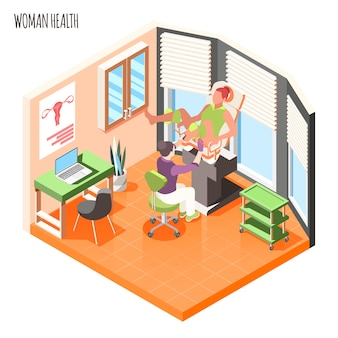 Women health isometric composition with doctor examines female patient in gynecological chair vector illustration