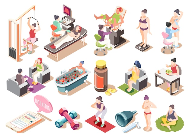 Set di icone isometriche per la salute delle donne