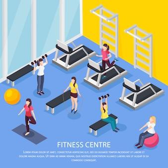 Composizione interna nell'illustrazione isometrica di salute delle donne con i caratteri umani e la stanza del club di forma fisica con testo editabile