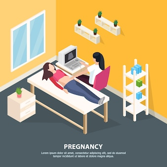 Изометрические иллюстрации здоровья женщин с внутренней композиции в комнате хирургии врачей человеческих персонажей и редактируемый текст