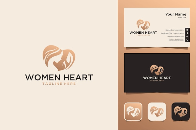Women heart with leaf logo design and business card