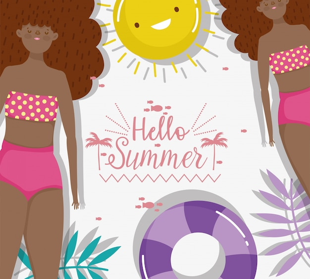 Women hello summer holiday