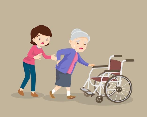 Women helping the elderly patients to wheelchair