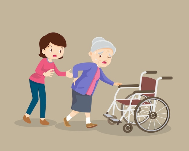 Женщины помогают пожилым пациентам в инвалидной коляске