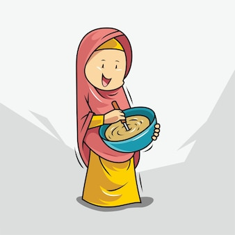 Women in hijab are cooking