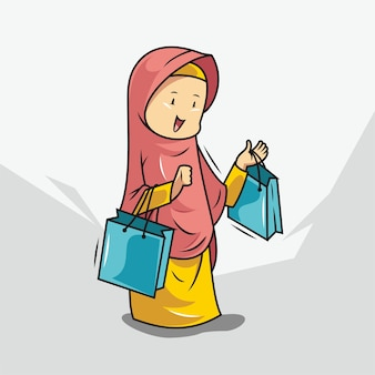 Women in hijab are shopping Premium Vector