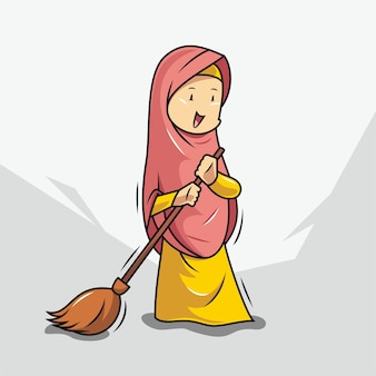 Women in hijab are sweeping Premium Vector