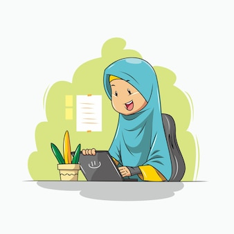 Women in hijab are working in the office