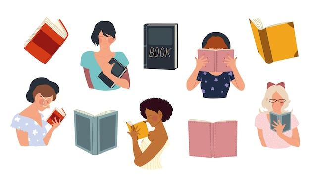 女性は、コンセプトイラストを読んで、手に本を持っています