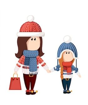 女性は紙袋を持っています。冬のセール、特別割引。 webサイトページとモバイルアプリ。休日のショッピング。漫画のキャラクターデザイン。白い背景の上の図