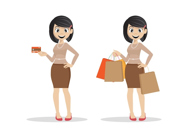Women holding credit cards and shopping.