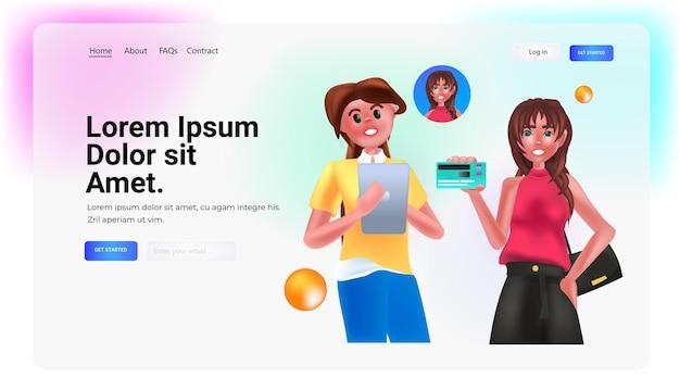 デビットカードまたはクレジットカードを保持している女性電子ワイヤレス支払いデジタルトランザクションオンラインショッピング送金コンセプト水平ポートレートコピースペースベクトル図
