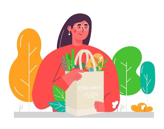 野菜、果物、健康的な飲み物が入ったエコショッピングバッグを持っている女性。再利用可能な環境に優しい買い物客ネットの乳製品。ゼロウェイスト、プラスチックフリーのコンセプト。フラットなトレンディなデザイン