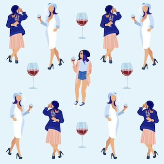 Women holding glasses with red wine and talking.