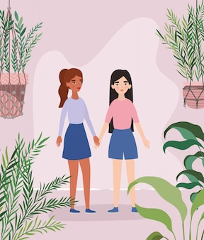 Women holding hands leaves and plants