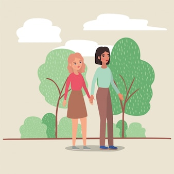 Women holding hands trees shrubs and clouds