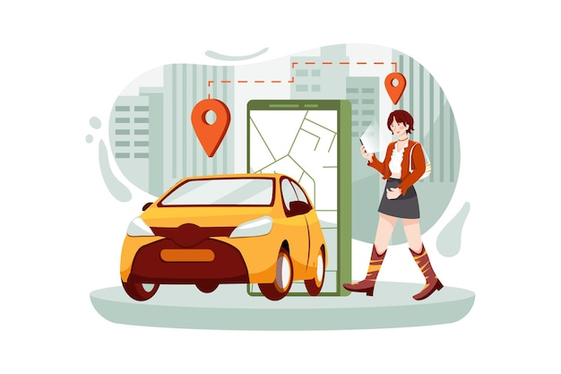 현대 도시의 스카이 라인에서 스마트 전기 자동차의 위치 표시와 함께 전화를 들고 여성.