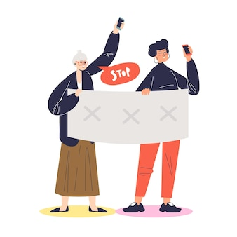 Women holding political banners, activists with strike manifestation signs illustration