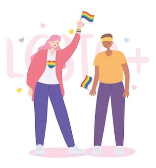 虹色の旗を保持する女性