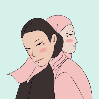 서로 포옹하는 여성, 자매 개념 그림