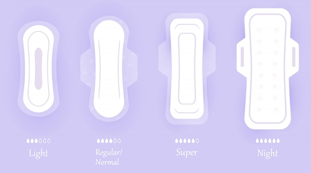 Women hygiene pads. set of icons isolated on violet background with shadow. different sizes of feminine sanitary napkin products. personal hygiene elements in flat style.