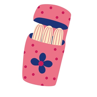 女性の衛生的なタンポン。かわいいプラスチックのパッケージに密封されたタンポン。フラットなデザインの漫画風イラストの女性用衛生用品。レディピンクタンポン。