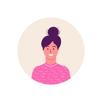 여성 아이콘 아바타 캐릭터입니다. 명랑, 행복한 사람들이 평면 벡터 일러스트 레이 션. 라운드 프레임입니다. 여성 초상화, 그룹, 팀. 흰색 배경에 고립 된 사랑스러운 소녀