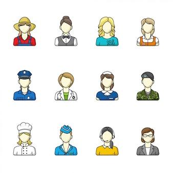 Женские иконы. набор различных женских профессий.