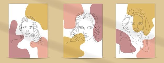 エレガントなラインアートスタイルの自由奔放に生きるポスターファッションの女性