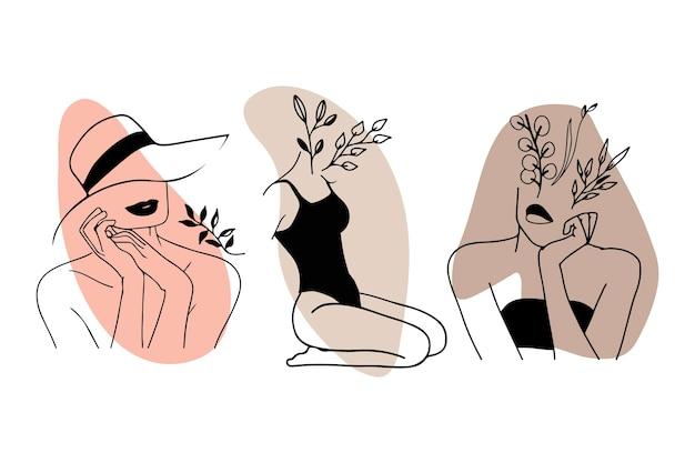 エレガントなラインアートスタイルコレクションの女性