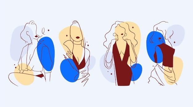 Женщины в элегантном стиле линии искусства иллюстрации