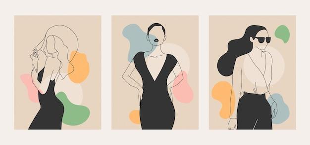 エレガントなラインアートスタイルのイラストの女性