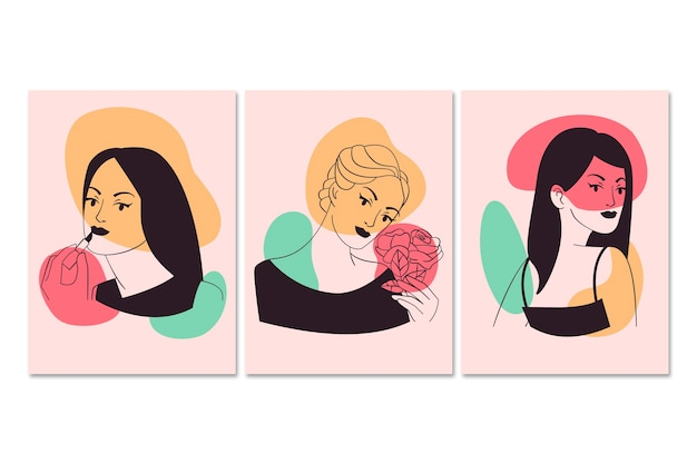 Женщины в элегантном стиле арт-линии
