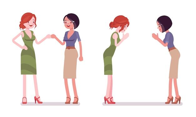 Женщины в кулаке и жест намасте