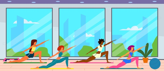 Женщины в спортзале. женская группа делает фитнес-упражнения, подходят для тренировок девочек и здорового образа жизни.