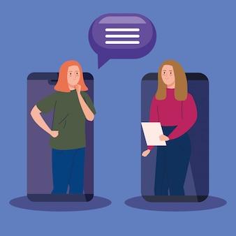 Женщины в видео конференции в смартфоне