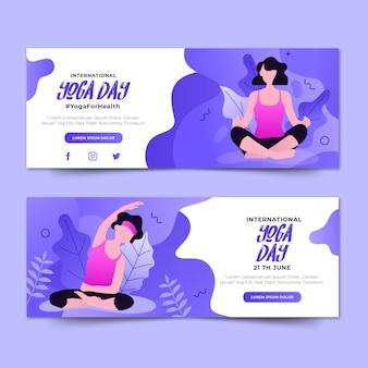 Donne sulla giornata internazionale del banner yoga