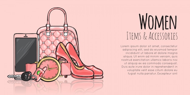 Women items and accessories fashionable web banner template