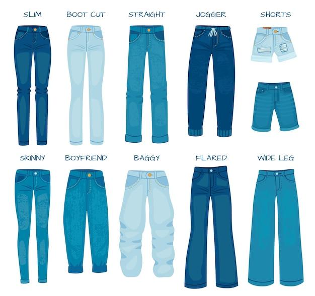 Женские джинсы подходят. джинсовые женские брюки модели скинни, прямые, зауженные, фасона бойфренд и сапожки. набор векторных силуэтов джинсовых брюк. девичьи повседневные наряды в виде мешковатых, расклешенных, шорт