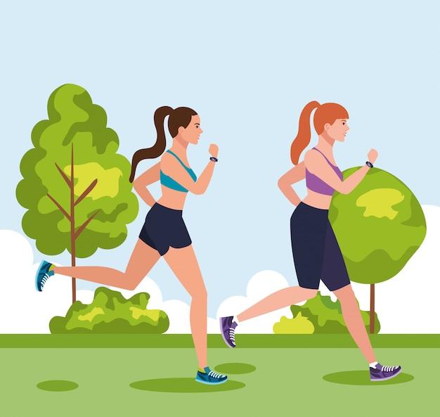 屋外ジョギングの女性、公園で走っている女性、自然イラストデザインでジョギングスポーツウェアのグループの女性
