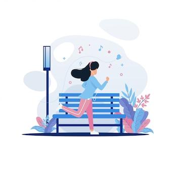 Women jogging in park illustration