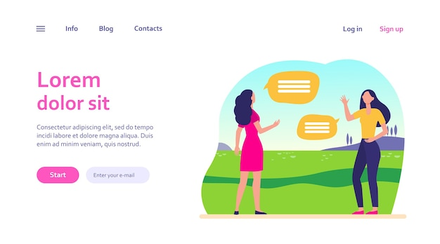 사회적 거리를 유지하는 여성. 여자 친구 모임 및 야외에서 이야기. 웹 사이트 디자인 또는 방문 웹 페이지에 대한 커뮤니케이션, 유행병, 전염병 개념