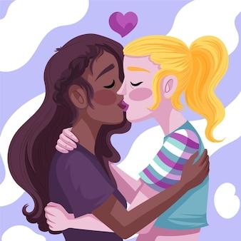 情熱的に描かれたキスをする女性