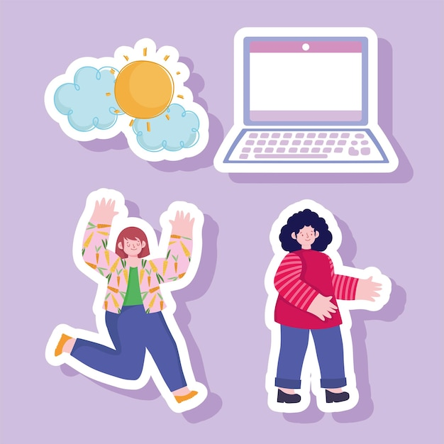 Women laptop device cartoon set