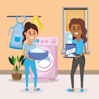 Women on laundry