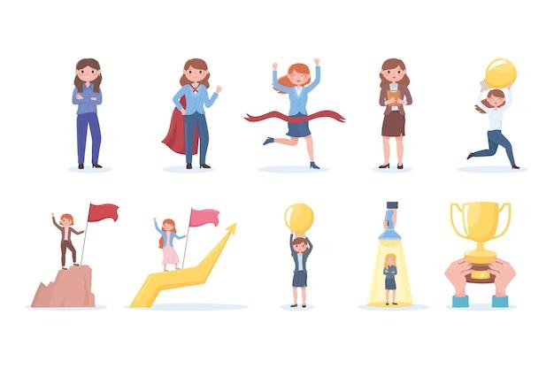 여성 리더십 비즈니스 성공 자신감과 동기 부여 캐릭터